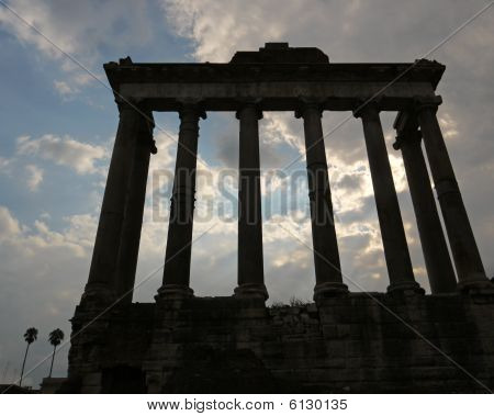 Antique Colonnade In Rome