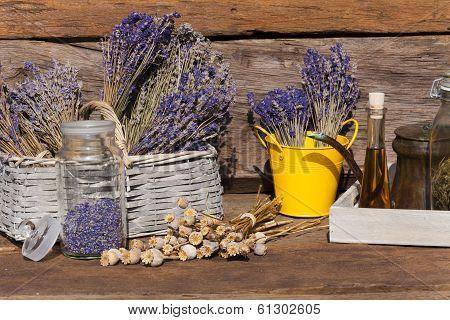 Summer Crop Of Dried Lavender, Poppy Seeds