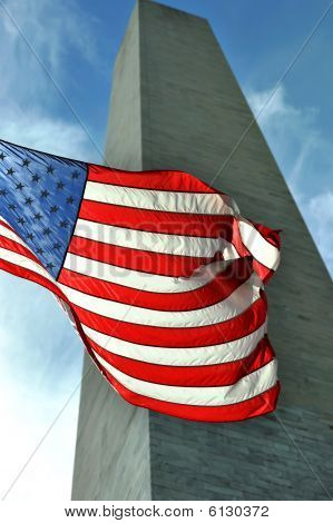 Old Glory At The Washington Monument
