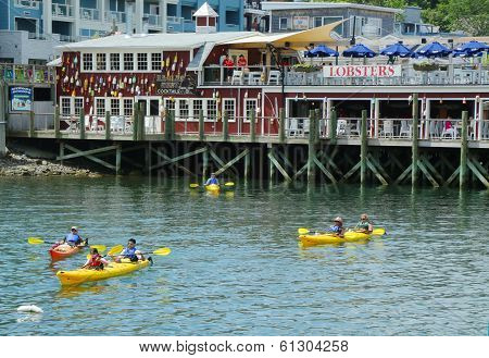 Tourists riding sea kayaks in Bar Harbor, Maine