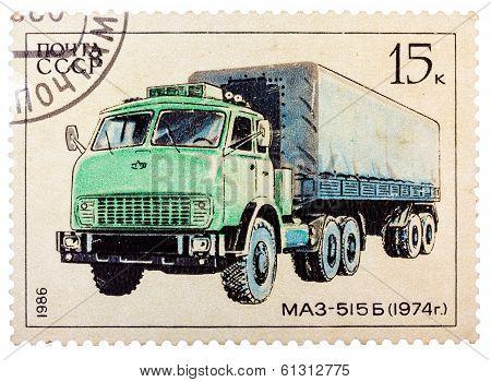 Stamp Printed In Russia, Shows Retro Truck Maz - 515 B