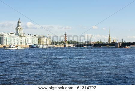 St. Petersburg Russia University quay of river Neva building of Museum of Anthropology and ethnography (cabinet of curiosities) 1718-1734 Palace bridge Rostral coloumn and cathedral of St. Peter and Paul of castle of St. Peter and Paul. poster