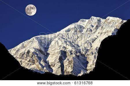 Full moon over Himalaya Mountains In Nepal.