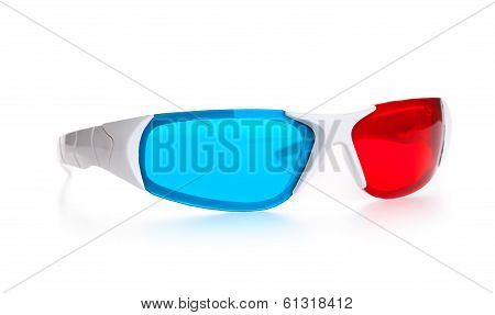 3d Anaglyph eyeglasses isolated on white background poster