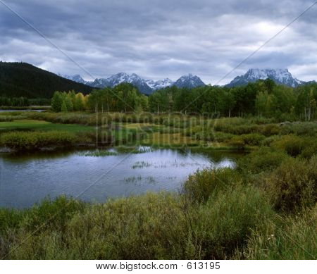Grand Tetons From Oxbow Lake