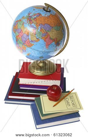 education still life on white with apple, books, report card, pencil, and globe