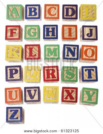alphabet blocks on white