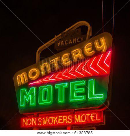 Route 66: Monterey Motel Neon Sign Albuquerque NM