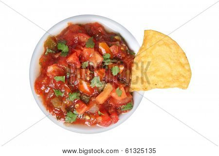 Salsa and tortilla chip, cut out on white background