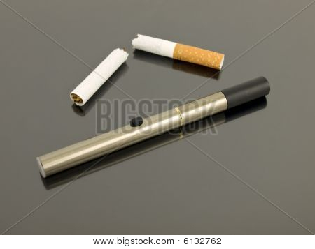 Electronic Cigarette With Broken Cigarette