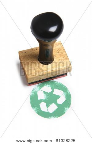 stamp with recycling sign