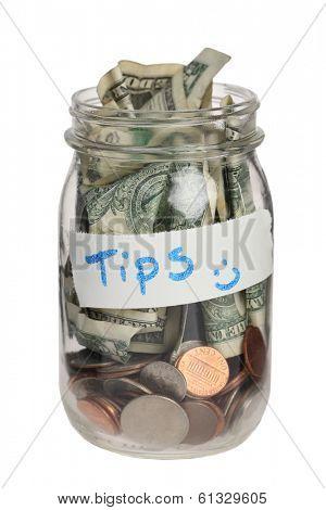 Tip jar on white background