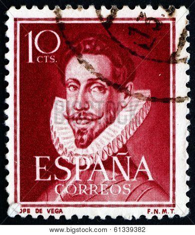 Postage Stamp Spain 1951 Lope De Vega, Poet