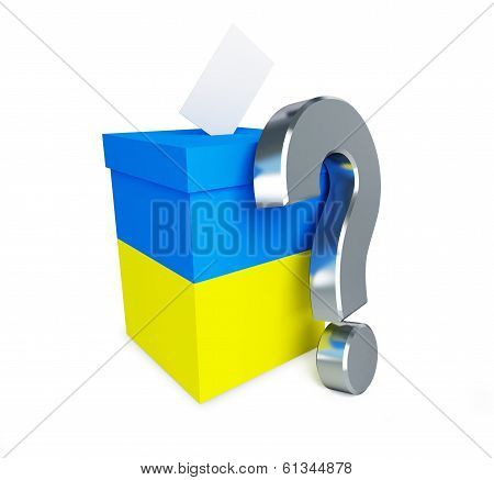 Elections In Ukraine Question Mark On A White Background