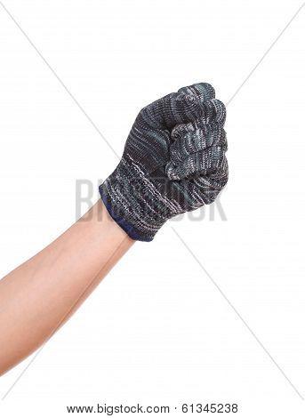 Hand In A Woollen Glove On White Background
