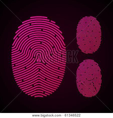Types of fingerprint patterns. Vector.