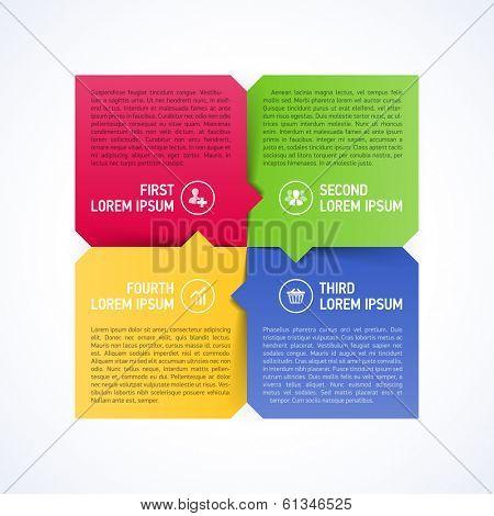 Four consecutive steps design element template. Vector.