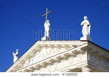 Sculpture on cathedral in Vilnius