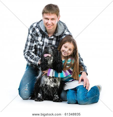 Happy cute little girl and heer daddy  with cocker spaniel puppy dog  on white background
