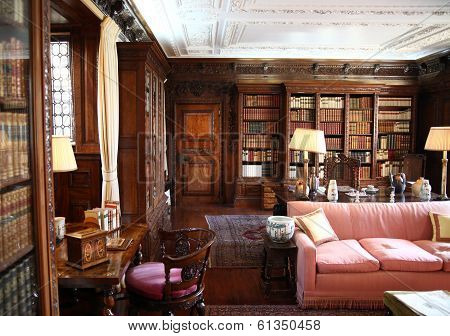 HEVER CASTLE AND GARDENS, KENT,  UK - MARCH 10, 2014: 19th century Interior of Hever castle, 13th ce