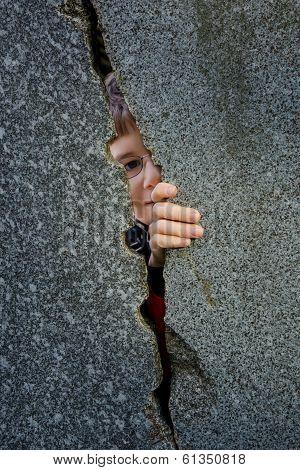 Shy glimpse through a gap
