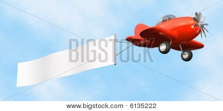 Airplane with Banner - isolated