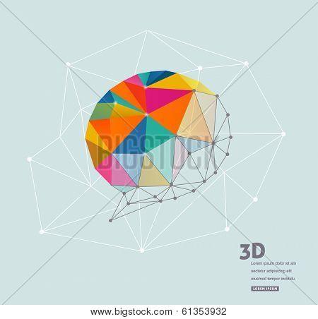 Polygonal geometric, vector 3D speech bubble poster
