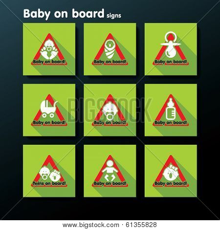Flat baby on board sign set - vector illustration