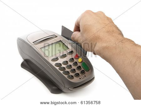 Payment with credit card through the terminal isolated on white background