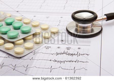 Pack Of Pills And Stethoscope