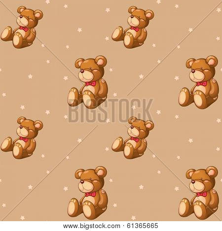 Illustration of a seamless design with teddy bears