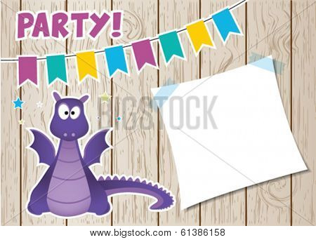 Monster dragon party card. Vector illustration