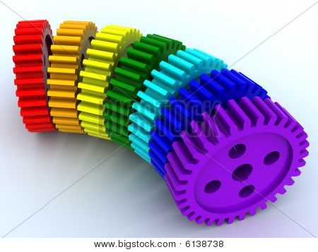 Seven gears from plastic of seven primary colours of a rainbow poster