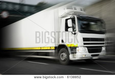 Refrigerator truck  In Motion