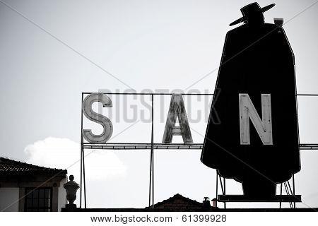 Porto, Portugal - January 21, 2013: Sandeman Advertising Signboard