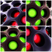 3d rendered image set of alien and futuristic looking 3d honeycomb structures. Carbon fiber backlit   concept. poster