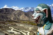 Ancient lion sculpture in himalaya mountains in Nepal. poster
