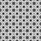Vector geometric art deco pattern with lacing shapes in black and white. Luxury texture for print, website background, decor in 1930 style, wrapping paper, fall winter fashion. textile, fabric poster