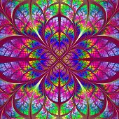 Multicolor fabulous fractal pattern. Collection - tree foliage. Computer generated graphics. poster