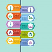 Infographics elements: Travel and Famous Landmarks. Travel concept with stylish colorful icons and guidepost poster