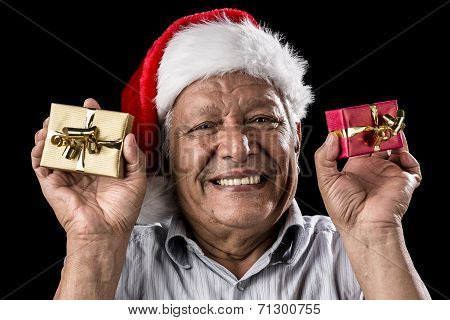 Smiling Aged Man Holding Two Small Xmas Gifts
