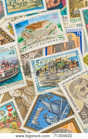 austrian stamps, symbol photo for collecting, hobby and rarities