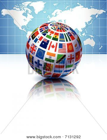 Flags Globe With World Map