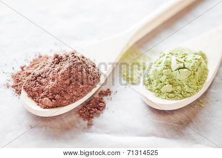 Spoon Of Cocoa And Green Tea Powder