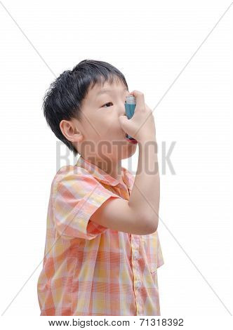 Sick Asian Boy Using Inhaler For Asthma On White Background poster
