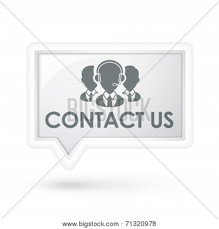 Contact Us With Services Icon On A Speech Bubble