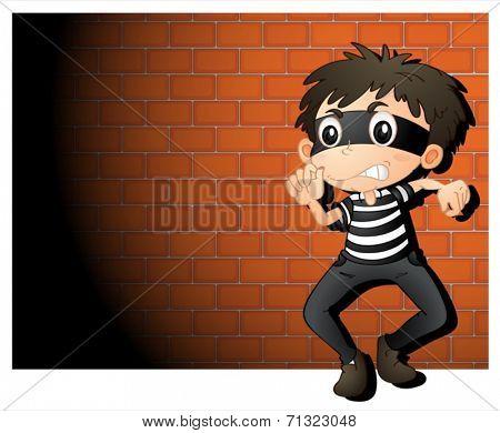 Illustration of a  thief in spotlight