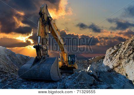 Excavator In Stone Quarry