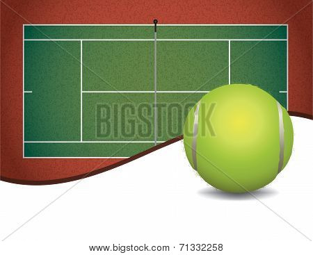 A tennis court and ball with room for copy space illustration. Vector EPS 10 available. EPS contains transparencies and a gradient mesh in the dropshadow of the ball. poster
