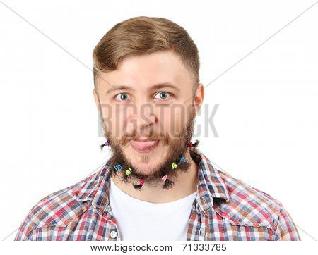 Portrait of handsome man with beard of scrunchy isolated on white